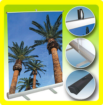 CUSTOM 33x38 Table Top Retractable Roll Pop Up Banner Stand Free Printing
