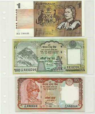 LIGHTHOUSE NUMIS 3 Pocket BANKNOTE PAGES Pack 10 NH03