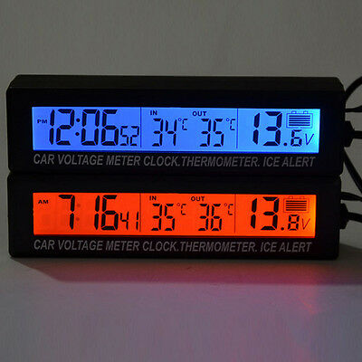 3in1 Digital LCD Clock In/Out Car Auto Thermometer Battery Voltage Meter Monitor