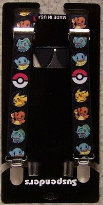 "Suspenders Children & Junior 1""x36"" FULLY Elastic Pokemon Pikachu Pokeball NEW"