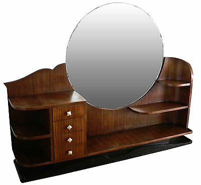 FRENCH ART DECO LARGE VANITY with round MIRROR