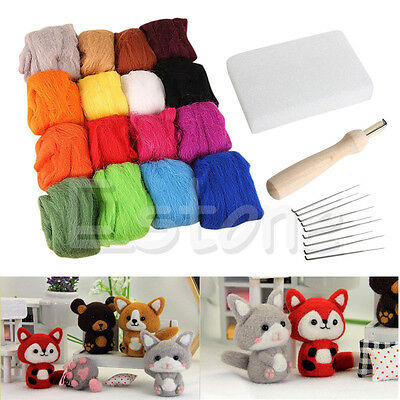 New 16 Colors Wool Felt + Needles Felt Tool Set Needle Felting Mat Starter Kit