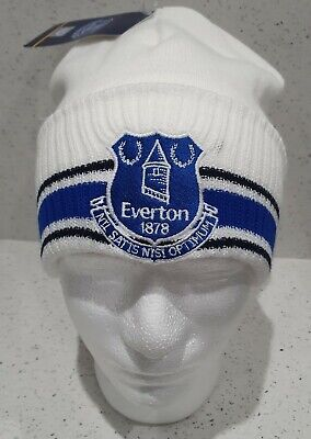Everton Official Adults Three Stripe Bronx Hat - White - Great Gift Idea!