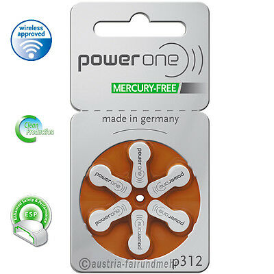 """60x POWER ONE Hörgeräte Batterie MERCURY FREE  P312 braun"