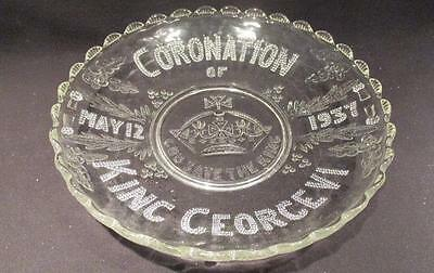 King George VI Coronation May 12 1937 God Save the King Clear Glass Dish