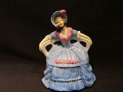 Trinket Box Vintage Woman with Blue Hooped Skirt Seated on Bench #28282