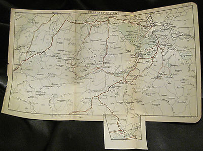Antique Map Lakes of KILLARNEY District Ireland 1891 J Bartholomew 6.25x10.75