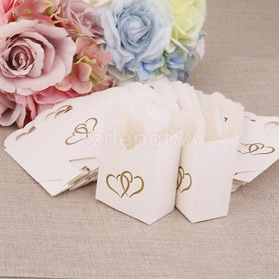 Lot 50 Wedding Favour Gift Sweets Candy Boxes Bags Baby Shower Party White