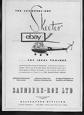 Saunders & Roe Ltd Skeeter Helicopter The Ideal Trainer 1953 Ad