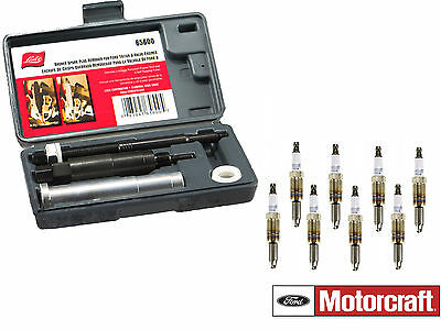 Motorcraft 8 Spark Plugs SP515 + Lisle 65600 Broken Spark Plug Remover for Ford