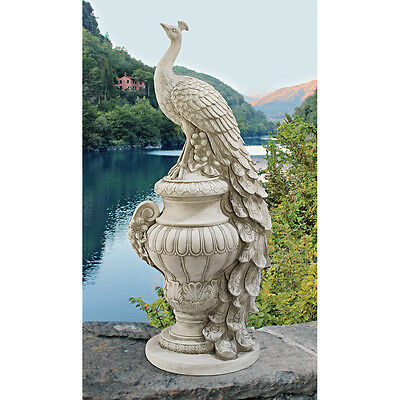 Elegant White Peacock Atop Arched Urn Garden Statue Home Sculpture