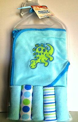 Swiggles Hooded Towel & Washcloth Gift Set Six Pieces 0+ Months Blue Green