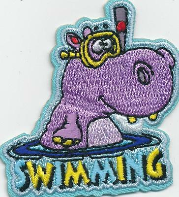 Girl Boy Cub SWIMMING HIPPO lessons class Fun Patches Crests Badge SCOUTS GUIDE