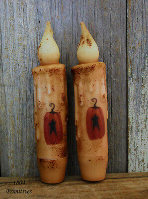 "2 ~ Beeswax 4-1//2/"" Stacked Pumpkin Timer Candles ~ Battery Operated"