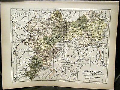 Irish Map KINGS COUNTY - OFFALY Ireland Midlands Colored PW Joyce 1905 7x9.5