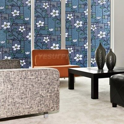 1.5m Blue Flower Privacy Stained Glass Door  Static Cling Window Film Decorative