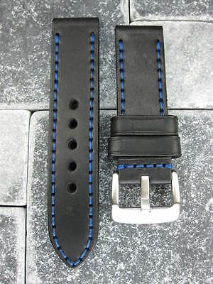 24mm NEW COW LEATHER STRAP Watch BAND PAM Black Blue Stitch BU