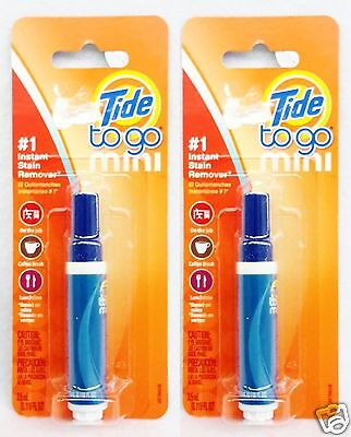 2 PENS Tide To Go Mini #1 INSTANT STAIN REMOVER Food Coffee Work Travel 3.5 mL