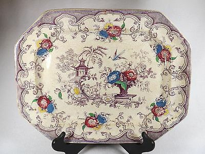 Florilla 1842-1867 Staffordshire Transferware Clobbering Multi-Colored Platter