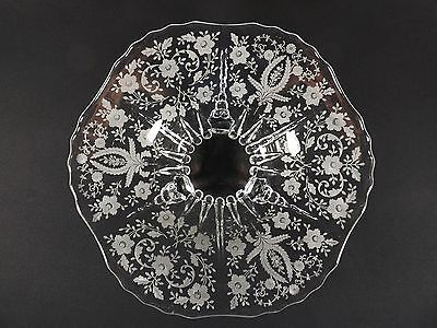 """Etched Crystal Footed Console Bowl with Raindrops  - New Martinsville """"Prelude"""""""