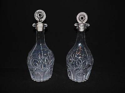 Pair of Early Irish Free Blown Bulls Eye Decanters Late 18th Early 19th Century