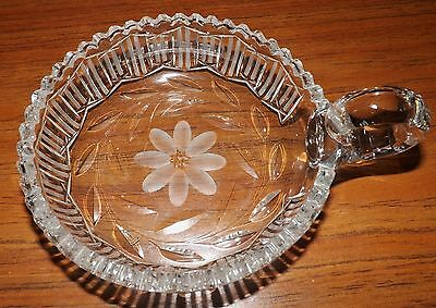 American Brilliant Cut Crystal Handled Candy Dish Beautiful Ring Sawtooth Edge