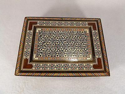 ANTIQUE ISLAMIC MICRO MOSAIC INLAID WOOD JEWELERY TRINKET BOX EARLY 20th CEN.