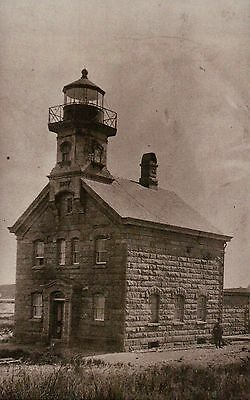 Block Island North Lighthouse Rhode Island c1860 Sandy Point Light RI - Postcard