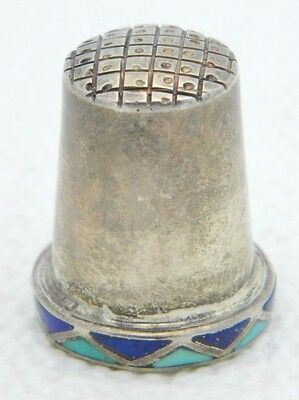VTG Mexican Mexico .925 Sterling Silver Turquoise Blue Lapis Lazuli Thimble