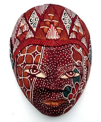 ART INDONESIEN MASQUE JAVANAIS TRADITIONNEL en BOIS et BATIK ROUGE