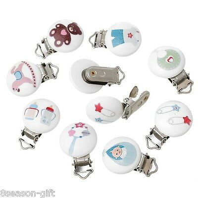 5PCs Baby Pacifier Clips Mixed Pattern White Wood Metal Holders
