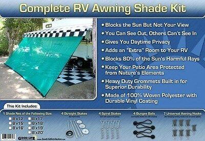 RV Awning Shade Motorhome Patio Sun Screen Complete Deluxe Kit Tan