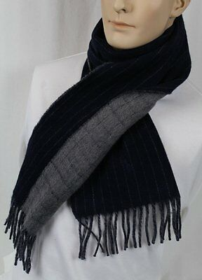 Polo Ralph Lauren Blue Stripe Grey Wool Scarf Navy Pony Nwt