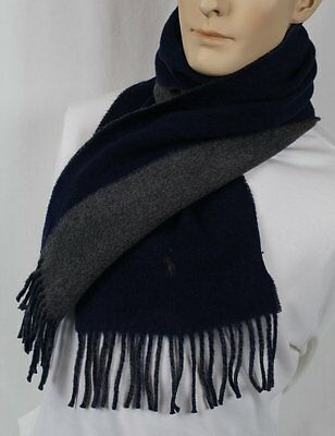 Polo Ralph Lauren Blue Grey Wool Scarf Grey Pony Nwt