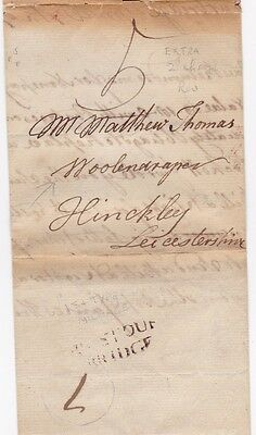 * 1786 STOURBRIDGE RARE 1st TYPE MILEAGE TO HINCKLEY EXTRA 2d POSTAL CHARGE WOOL