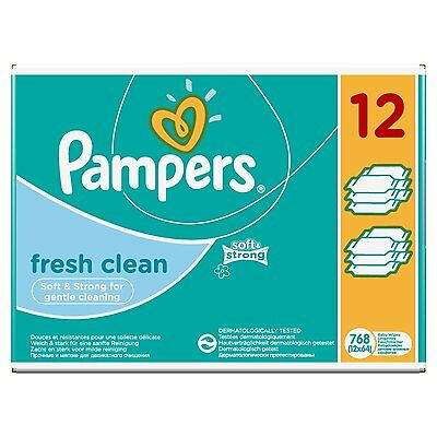 Pampers Fresh Clean Lingettes Bébé - Lot de 12 Paquets soit 768