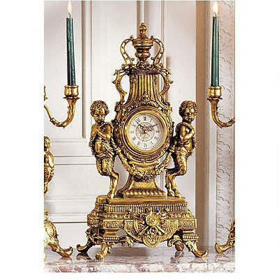 French Rococo Inspired Antique Gold Pan Twin Figures Grand Clock