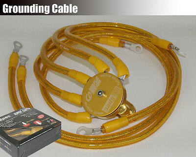 Universal D1 5 Point Grounding Kit Ground Earth Wire Cable Kit w/ Circle Yellow