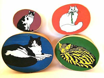 Wooden Nesting Boxes Hand Painted Cats Set of 4 Oval Storage Containers