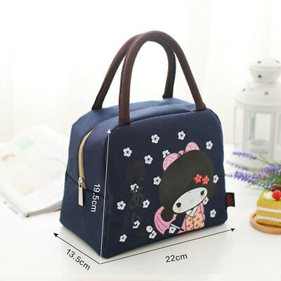 Girl Thermal Insulated Cooler Waterproof Lunch Tote Carry Bag Storage Picnic Box