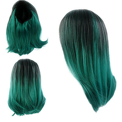 Short Straight Lace Front Wig Synthetic Hair Ombre Black And Dark Green