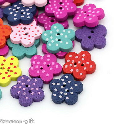 100pcs Mixed Flower Colorful Wooden Buttons Scrapbook Sewing DIY Craft Knk258
