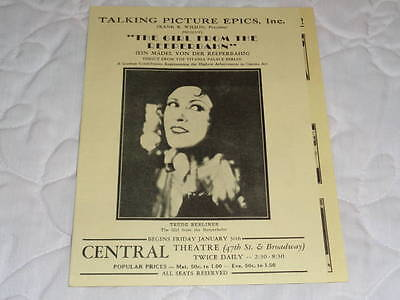 "1930 ""The Girl From The Reeperbahn"" German Movie Broadway NYC Brochure - Rare!"