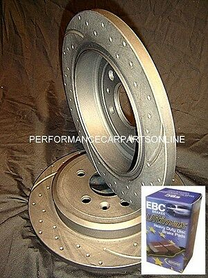 DRILLED SLOTTED & EBC PADS Commodore VT VU VX VY VZ V6 V8 SS REAR Disc Rotors