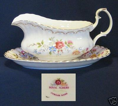 JUBILEE ROSE ROYAL ALBERT Gravy Boat and Stand, Original China from England