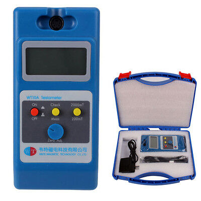 NEW LCD Tesla Meter WT10A Gaussmeter Surface Magnetic Field Tester w Ns Function