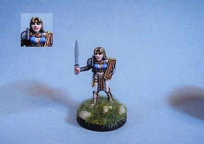 Ral Partha painted miniature cute Female Fighter/Gladiator