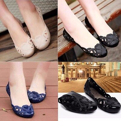 Fashion Women Casual Flats Shoes Crystal Jelly Hollow Slip-on Sandals Flip Flops