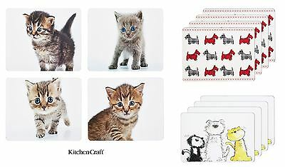 KitchenCraft Cork Placemats Set of 4 Kitten, Scottie Dog or Cats and Dogs Design