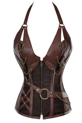 Steampunk Brown Boned Faux Leather & Brocade Zip/Lace Up Corset Bustier 12-14